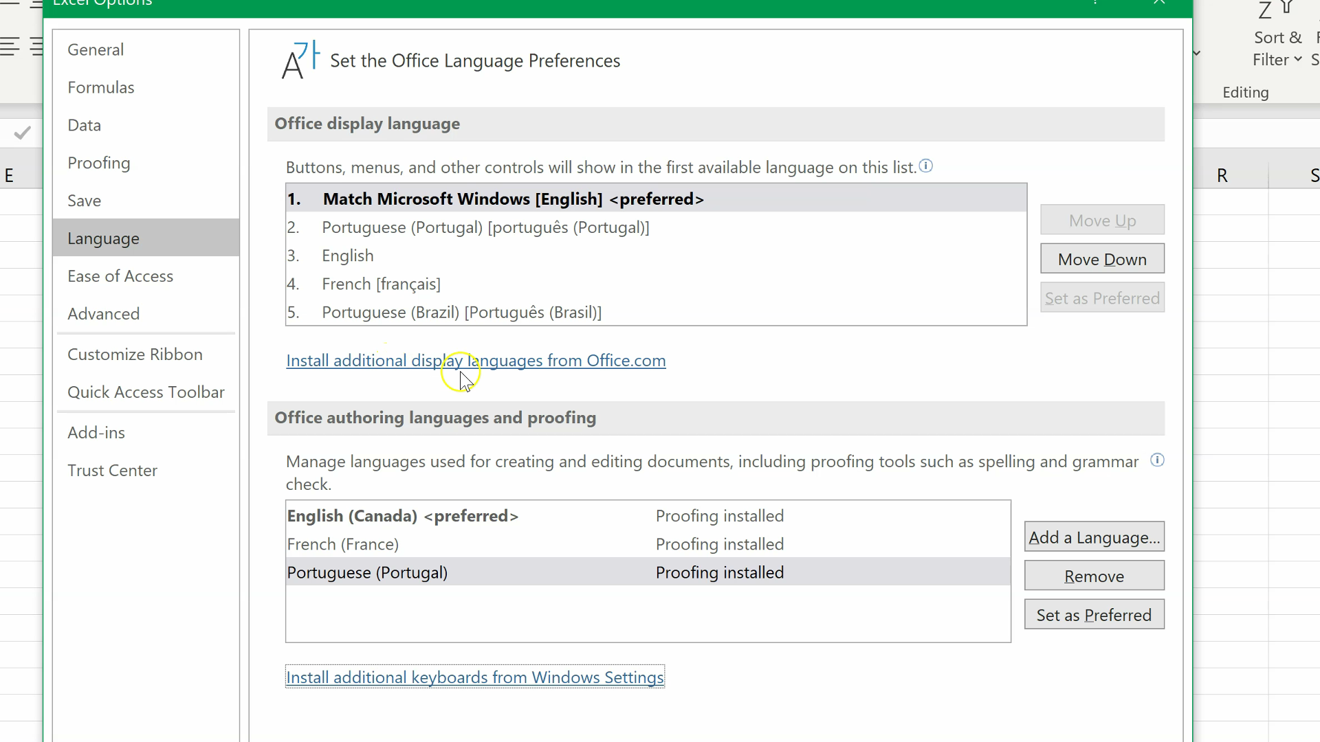 How to change the display language in Excel (Time 0_01_21;08)